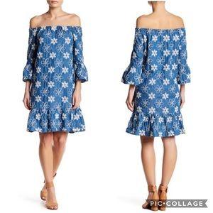 ECI Embroidered Denim Dress